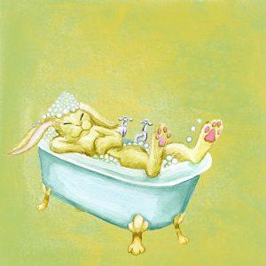 ウサギの入浴